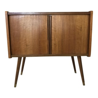 Mid-Century Modern Tambour Record Cabinet