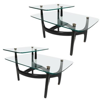 Pair of Mid-Century Modern Side Tables with Glass Tops