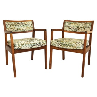 Mid-Century Walnut Upholstered Armchairs - a Pair