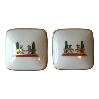 La Maison De Cartier Dogs 24k Porcelain Boxes - A Pair