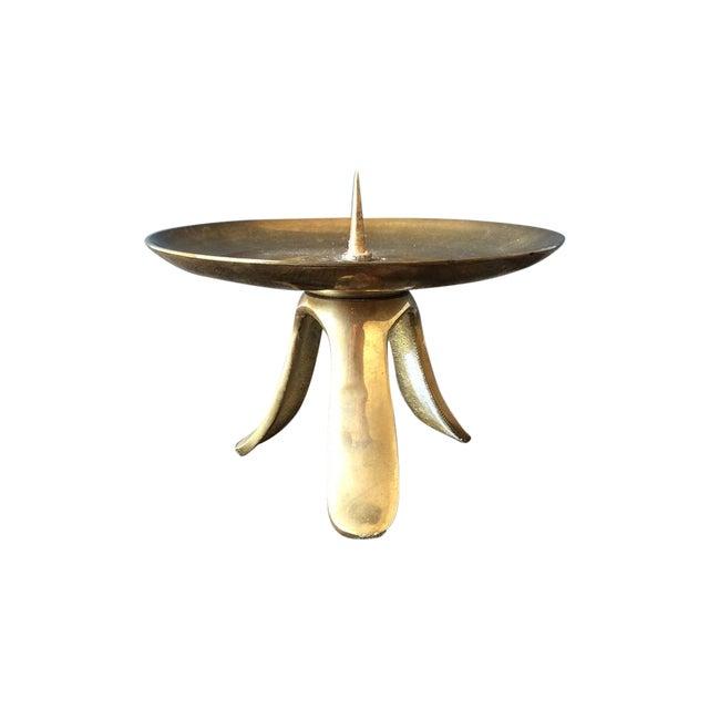 Mid-Century 1950s Brass Pillar Candle Holder - Image 1 of 4