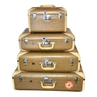 Vintage Wilt Luggage With Ocean Liner Stickers - Set of 4