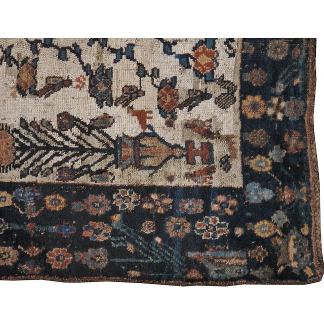"""Antique Persian Distressed Rug - 3'9"""" X 4'3"""" - Image 5 of 5"""