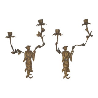 Early 20th Century French Figural Bronze Wall Sconces - A Pair