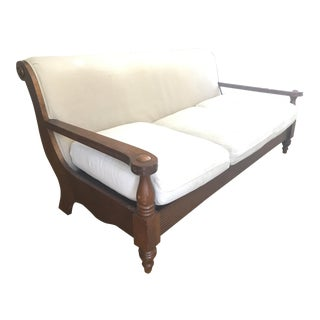 Solid Oak & Beige Upholstered Couch