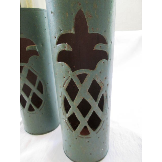 Haitian Pineapple Tin Luminaries - A Pair - Image 3 of 5