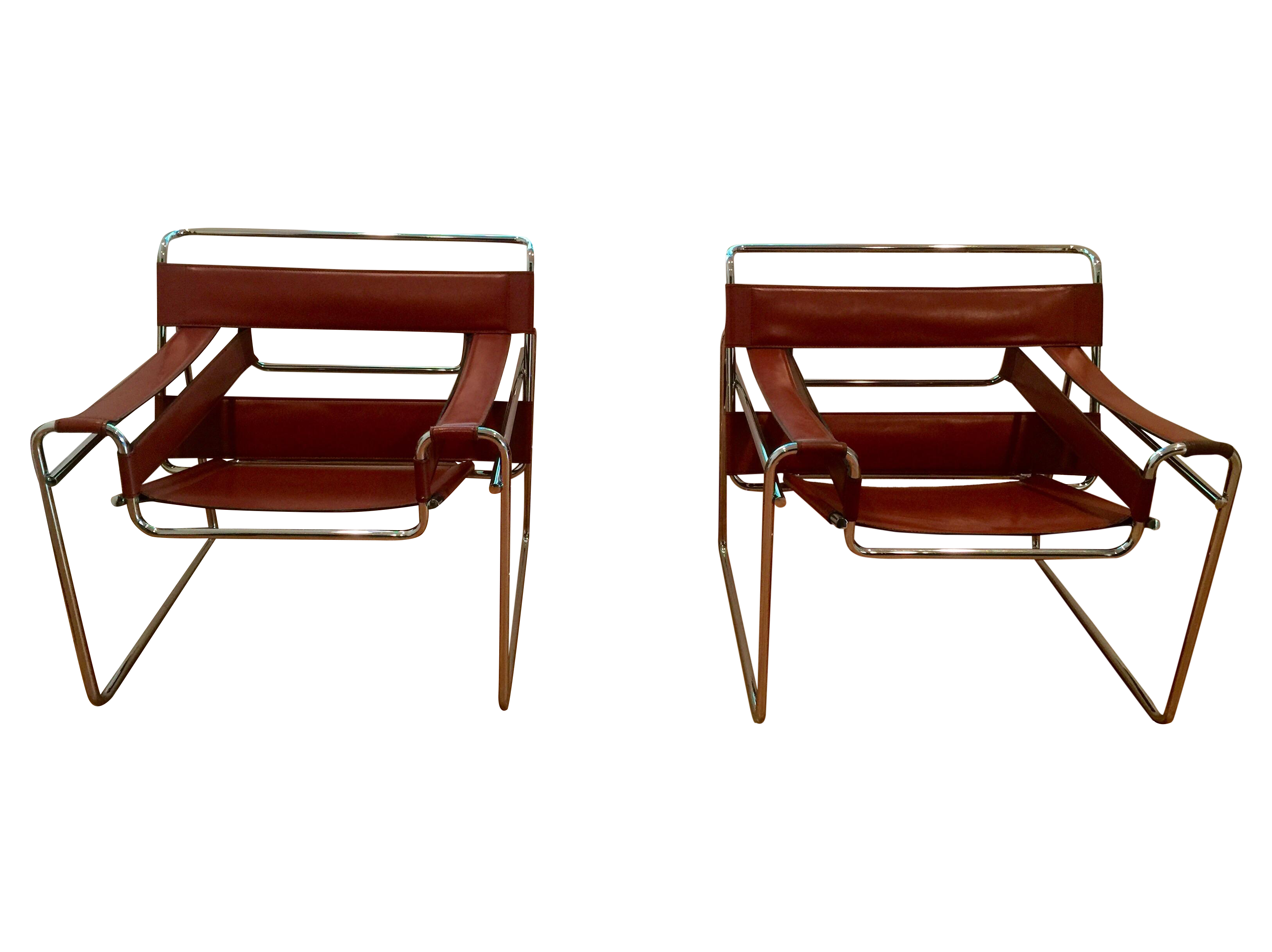 Vintage wassily leather and chrome chairs pair chairish