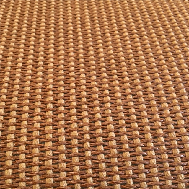Reed and Leather Upholstered Ottoman - Image 6 of 7