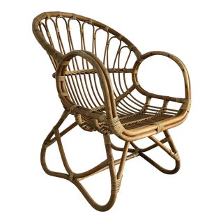 1960s Vintage Bamboo Scoop Chair in Style of Franco Albini