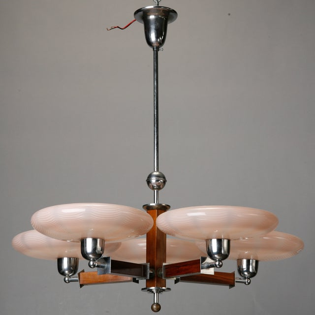French Art Deco Chrome Wood Glass 5 Light Fixture - Image 2 of 4