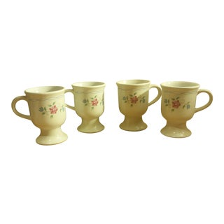 Porcelain Footed Coffee Mugs - Set of 4