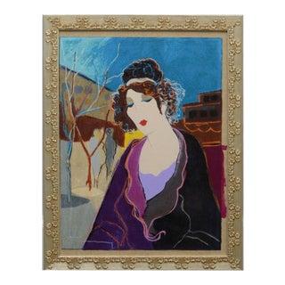 """Framed """"Babette"""" Embellished Serigraph"""