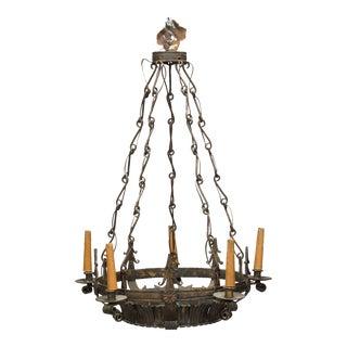 Dark Bronze Spanish Crown Form 6 Light Fixture with Original Decorative Chain