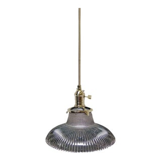 Light Purple Antique 6.25 In. Glass Holophane Pendant Light