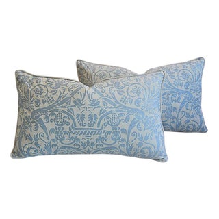 """26"""" X 16"""" Custom Tailored Italian Fortuny Uccelli Feather/Down Pillows - a Pair"""