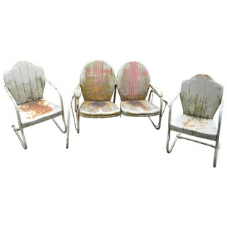 Mid-Century Metal Glider & Chairs - Set of 3