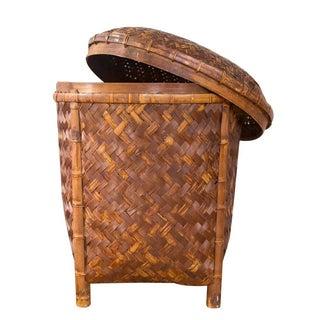 Vintage Rattan Lidded Basket