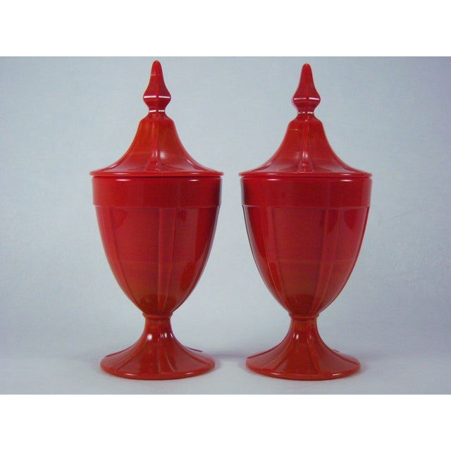 1920s Red Art Glass Covered Candy Containers - Image 2 of 8