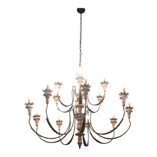 Cream & Black Metal Chandelier