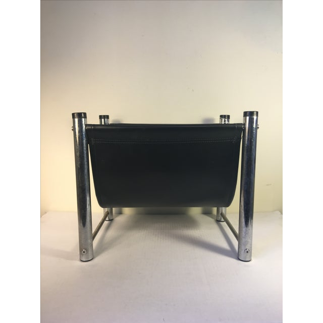 Image of Vintage Mid-Century Leather/Chrome Magazine Rack