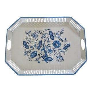 Vintage Blue & White Flower Painted Tray