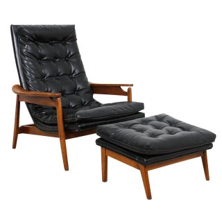 Mid-Century Modern Tufted Lounge Chair With Ottoman