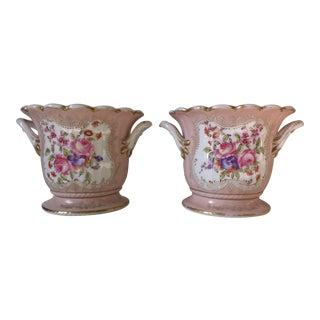 Pink Meissen Porcelain Cachepots, 19th Century- A Pair