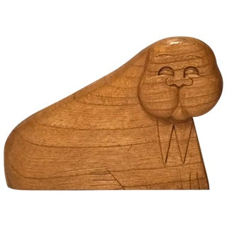 Whimsical Wood Sculpture Of A Walrus