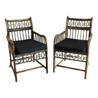 2 Brighton Pavillion Bamboo Caned Armchairs