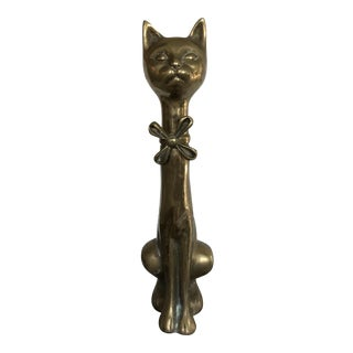 Mid-Century Solid Brass Cat Statue