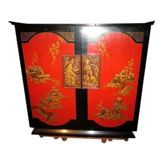 Chinoiserie Asian Red Lacquer Bar Cabinet Tube Radio