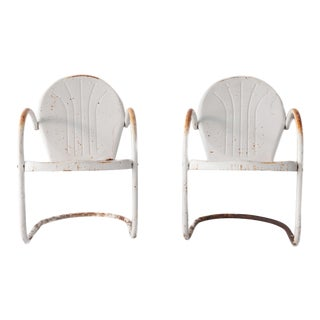 1940's Vintage Metal Patio Arm Chairs - a Pair