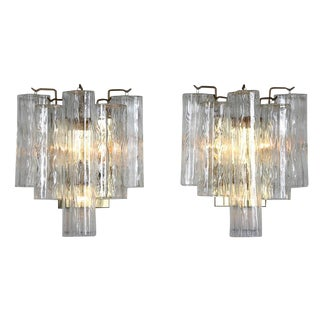 PAIR OF 1970S BRASS MURANO SCONCES WITH TRONCHI CRYSTALS