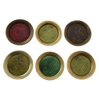 Mid Century Astrological Coasters - S/6