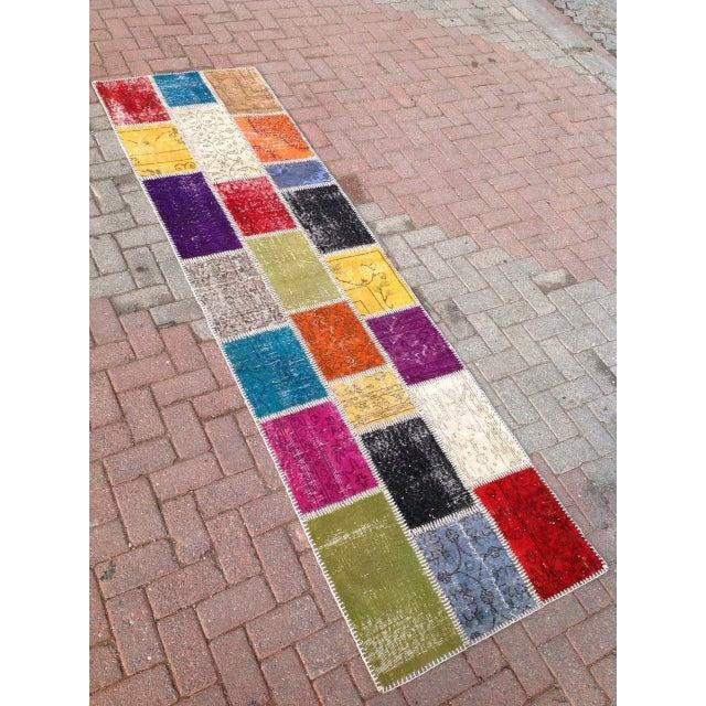 "Multicolor Turkish Runner Rug, 2' 7"" x 9' 2"" - Image 3 of 6"