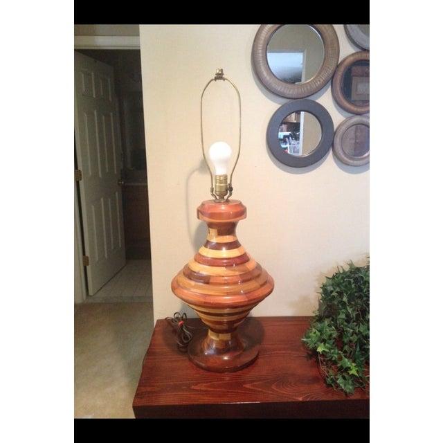 Vintage Unique Large Multi Wood Layered Lamp - Image 2 of 4