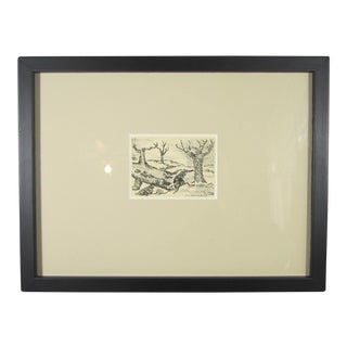 "D.L. Hazelrigg Miniature ""Trees"" Lithograph"