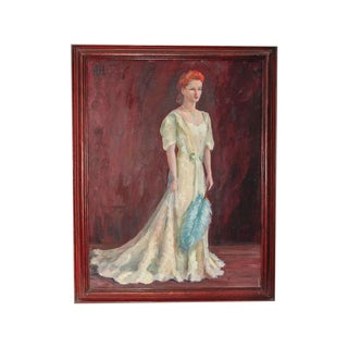 Vintage Painting of a Lady Wearing Gown