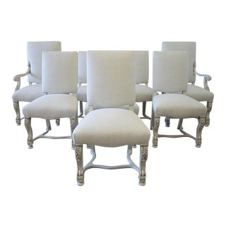 Carved and Linen Upholstered Renaissance Dining Chairs - Set of Eight
