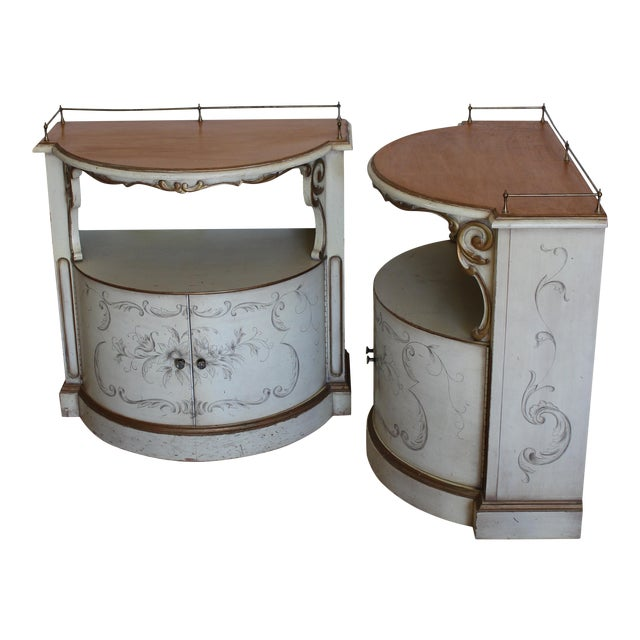 Karges Painted Demilune Nightstand - Pair - Image 1 of 11