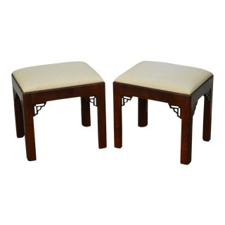 Chippendale Style Pair of Mahogany Benches or Stools by Century