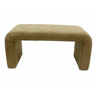 Waterfall Upholstered Bench in Suede Attr. Steve Chase