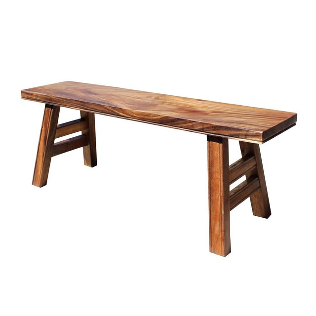 Japanese Style Bench ~ Asian style zen natural wood double seat plank bench