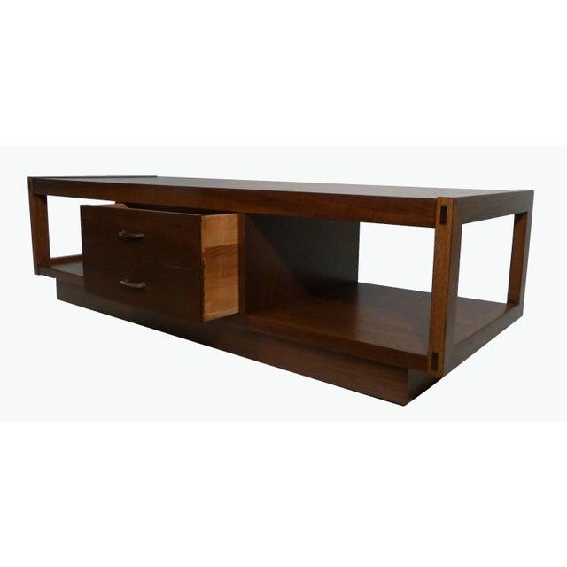 Lane Long Coffee Table: Architectonic Walnut Coffee Table By Lane