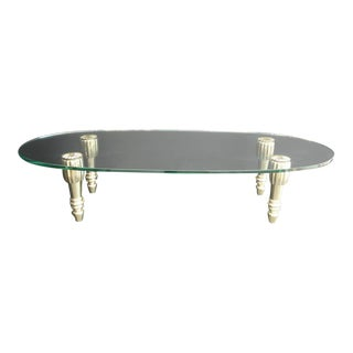 Brass and Glass Coffee Table in the Style of P.E. Guerrin