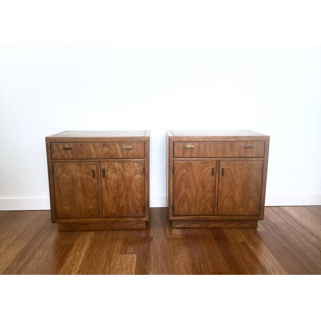 Image of Drexel Consensus Vintage Wood Nightstands - A Pair