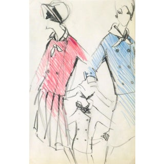 Original Balmain Dress Suit Fashion Sketch 1960