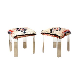 Boucherouite Upholstered Lucite Stools - A Pair