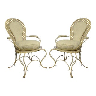 Vintage Hollywood Regency Lattice Wrought Iron Patio Lounge Arm Chairs - a Pair