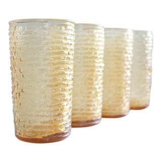 Vintage Amber Textured Glasses - Set of 4